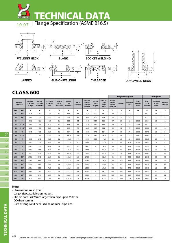 CLASS 600 (ASME B16.5)